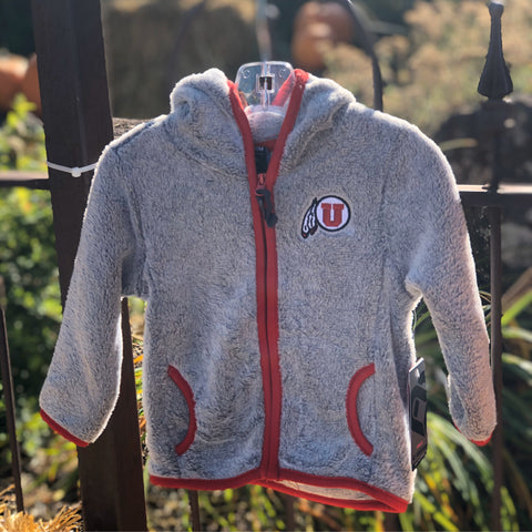 Utah Utes Colosseum Infant Grey Chicken Boo Faux Fur Zip Up Hoodie