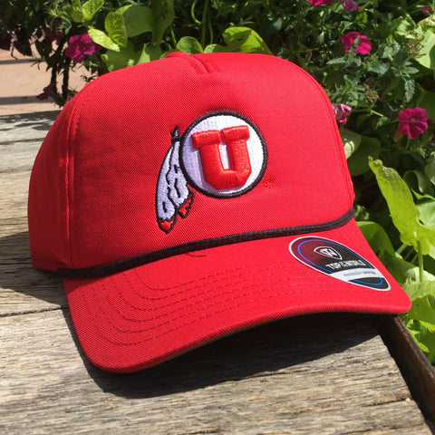 Utah Top Of The World Dally Adjustable Red Drum And Feather Hat