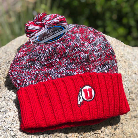 Utah Top Of The World Soar Beanie 3 Tone Drum And Feather Block U
