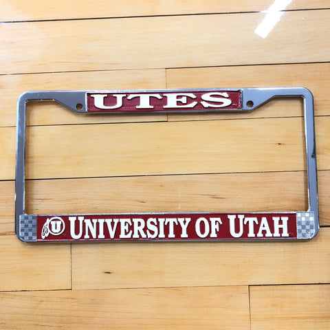 Utah Utes UofU Chrome/Red License Plate Frame