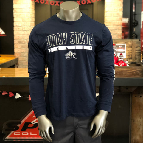 USU Men's Navy Utah State Longsleeve Tee - Utah Sports Collective