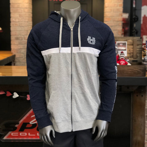Utah State Men's Navy Grey Zip Up Hoodie