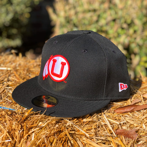 Utah Utes New Era 5950 Black Vault Drum And Feather Hat