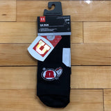 Utah Under Armour Black Drum And Feather No Show Ankle Run Socks