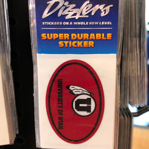 "Utah Euro Red Oval Dizzler 2"" sticker - Utah Sports Collective"