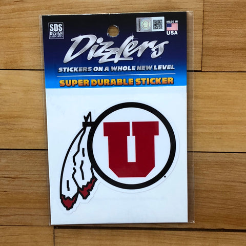 "Utah Drum and Feather Dizzler 3"" sticker - Utah Sports Collective"