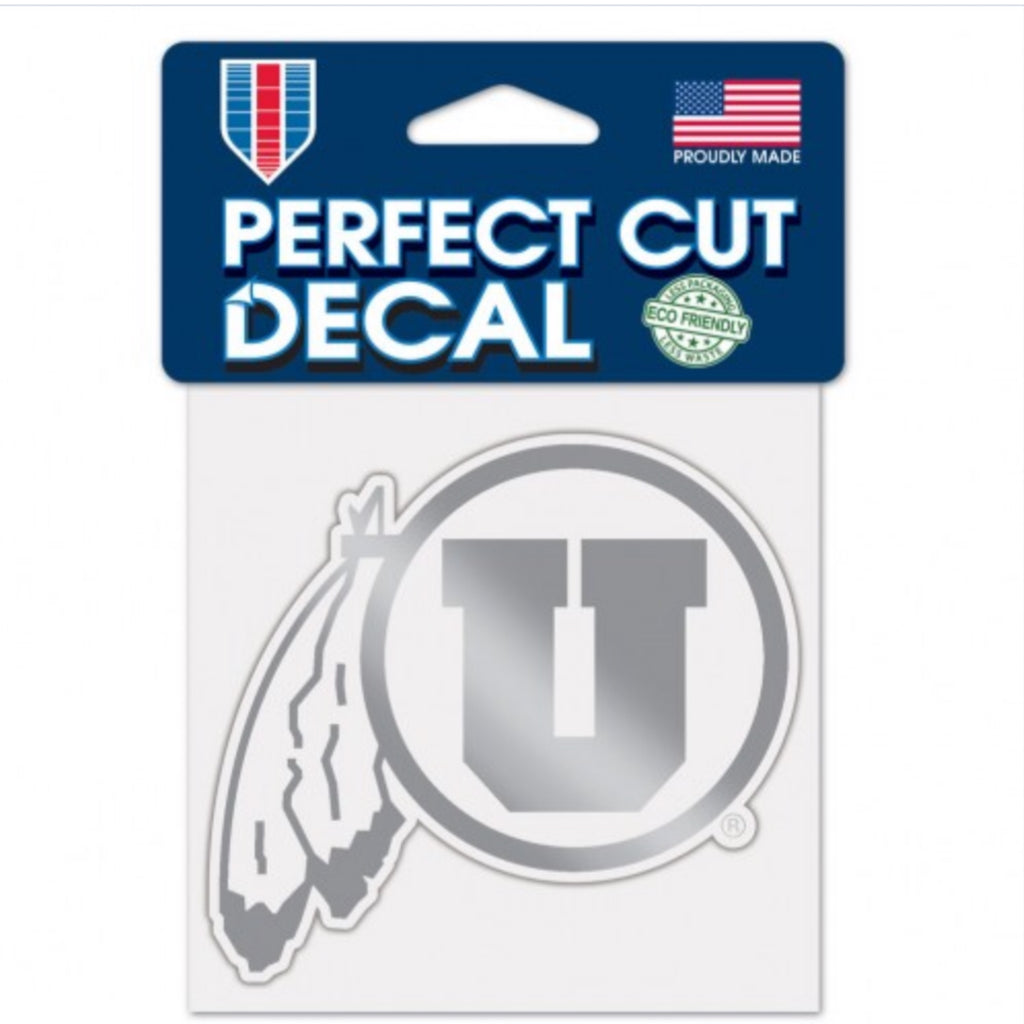 "Utah Utes Chrome Perfect Cut Decal 4""x4"" Drum And Feather"