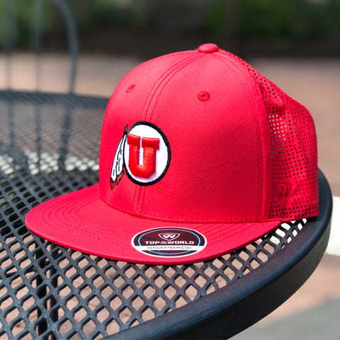 Utah Top Of The World Flight SnapBack Hat Drum And Feather Red