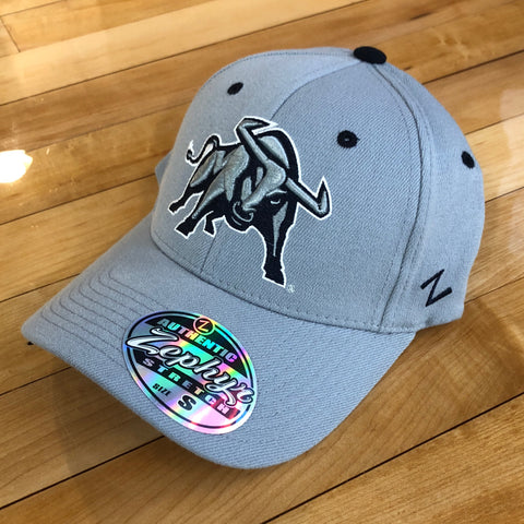 USU Zephyr hat Full Bull GRY flexfit - Utah Sports Collective