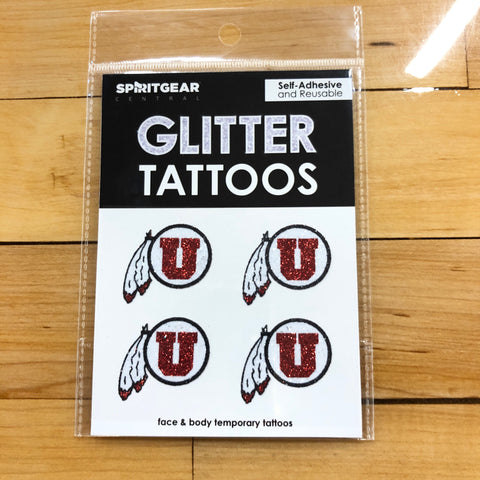 Utah Drum And Feather Glitter Tattoos - Utah Sports Collective