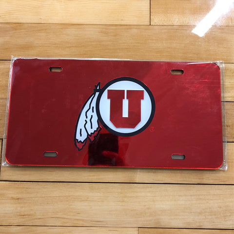 Utah Red Chrome License Plate Tag - Utah Sports Collective