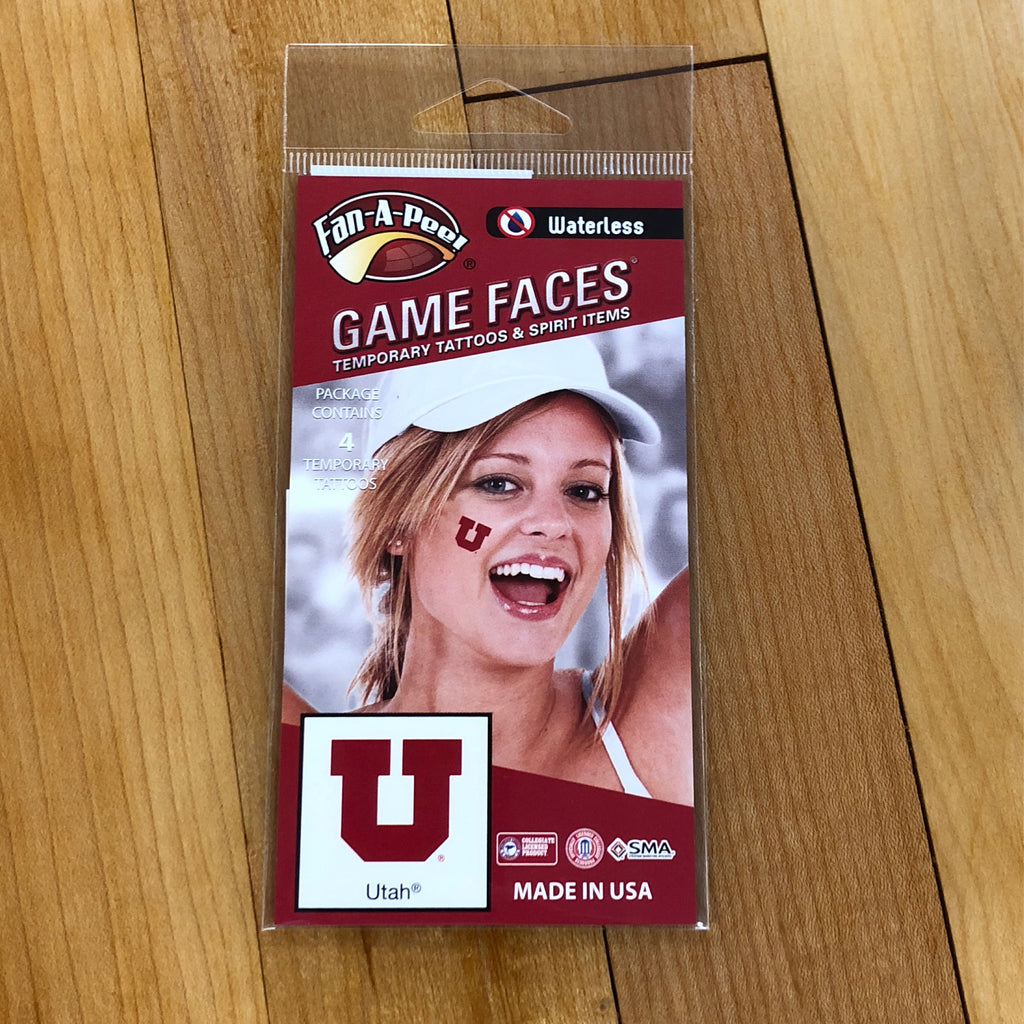 Utah Game Face Tattoo Block U face stickers - Utah Sports Collective