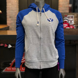 BYU Women's Blue Grey Y Raglan Zip Up Hoodie - Utah Sports Collective