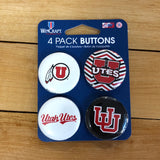 Utah 4pack Button Pins - Utah Sports Collective