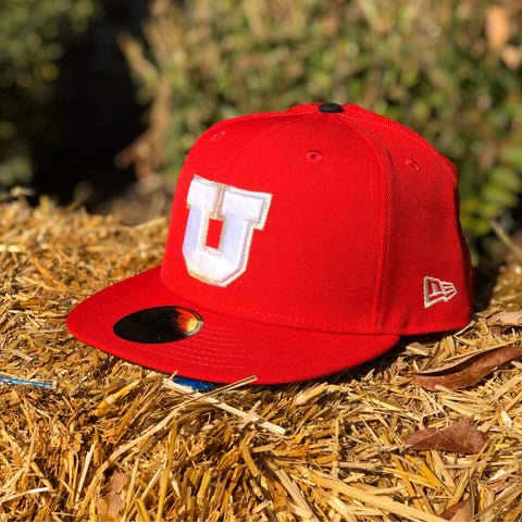 Utah Utes New Era 5950 Red White/silver Block U Hat