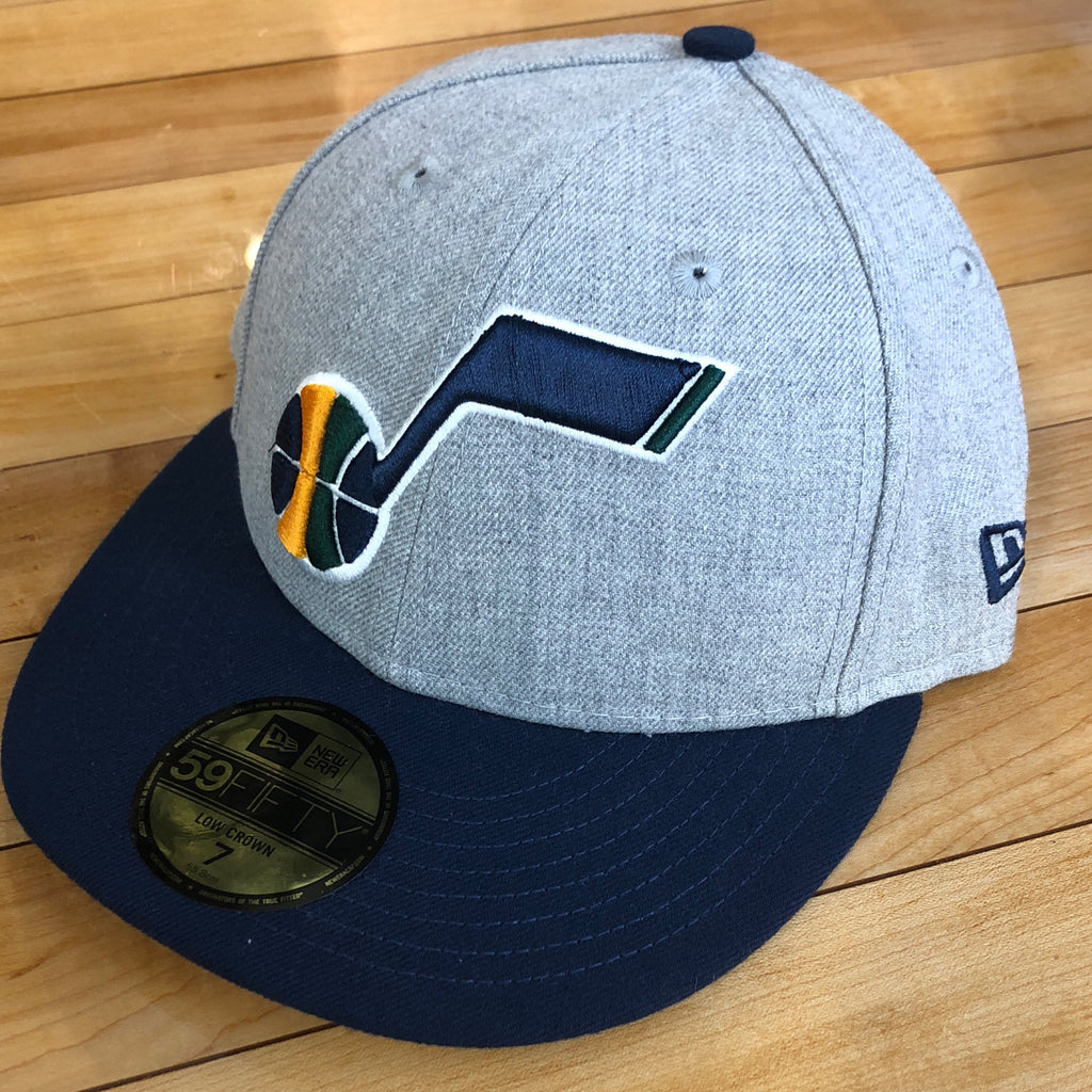 Jazz New Era 5950 hat Low crown heather grey note fitted - Utah Sports Collective