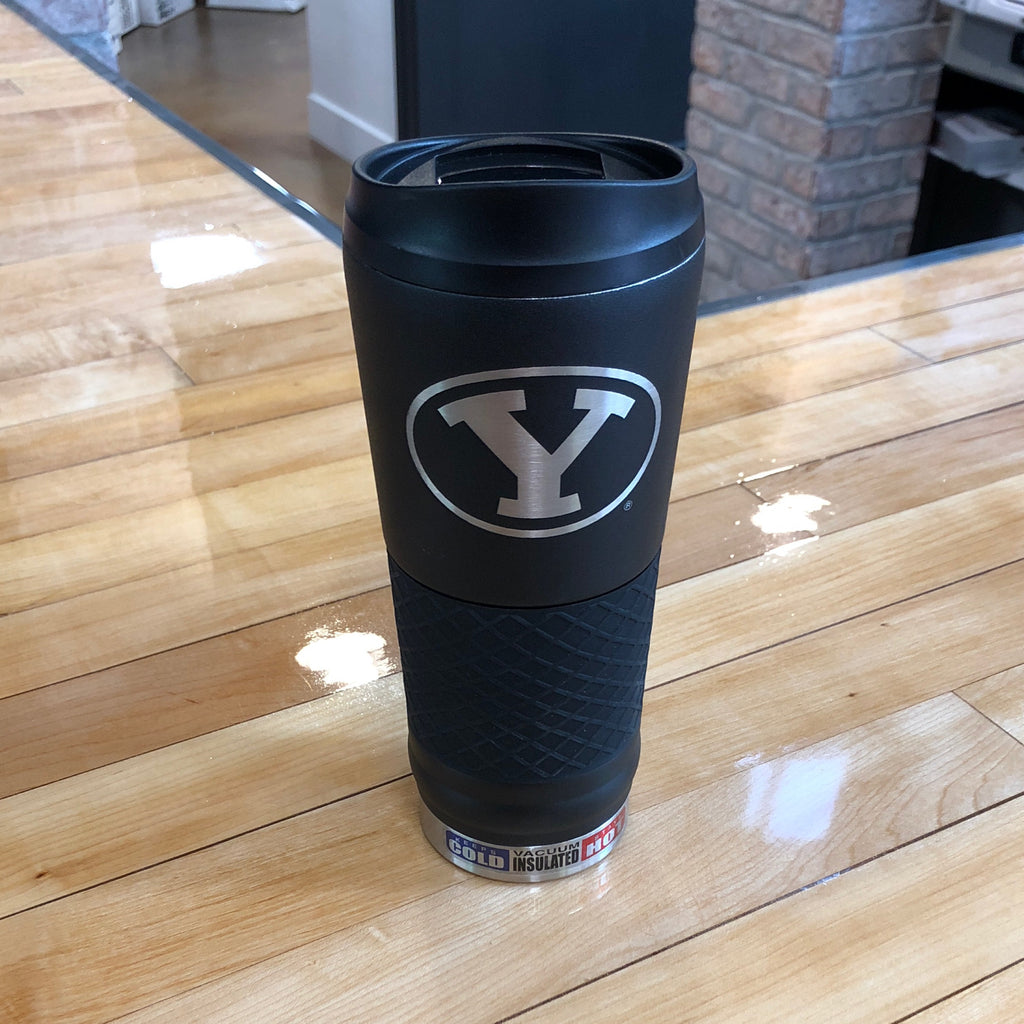 BYU Black Laser Cut Stainless steel tumbler 24oz - Utah Sports Collective