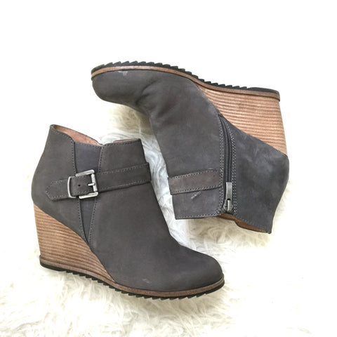 Caslon Grey Wedge Buckle Bootie- Size 38/ 8