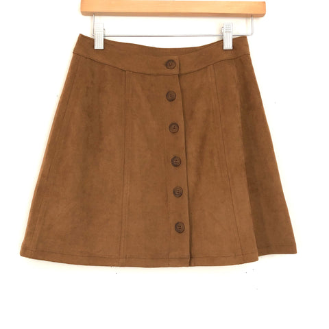 WAYF Faux Suede Brown Button Down Skirt NWT- Size XS