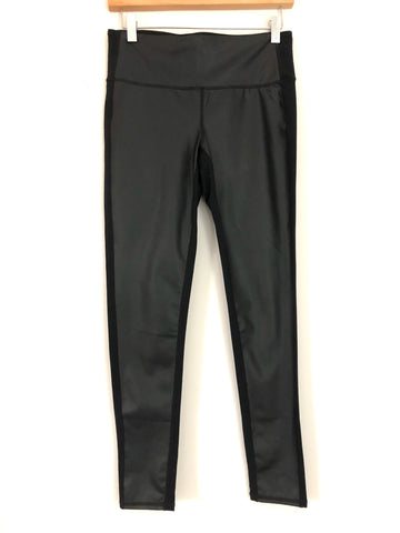 "Athleta Black Leggings With Faux Leather On Front- Size S (Inseam 25"")"
