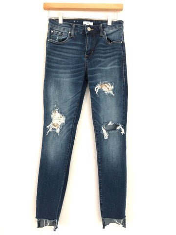 "BP Distressed High Rise Skinny Jean With Velvet Patches - Size 25 (Inseam 26"")"