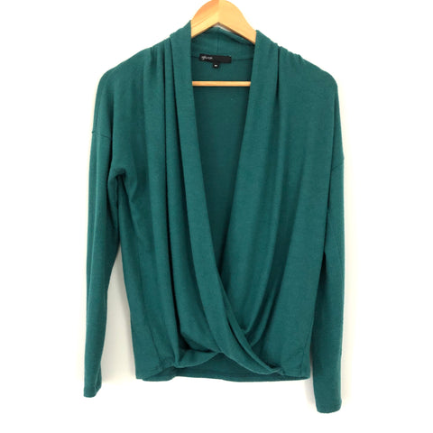 Gibson Deep Green Drape Front Blouse- Size XS