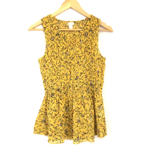 Hinge Mustard Smocked Floral Sleeveless Top- Size S