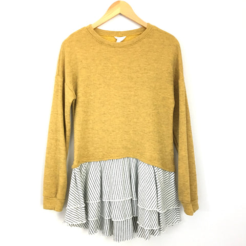 Caslon Mustard Sweater with Striped Underlay- Size XS
