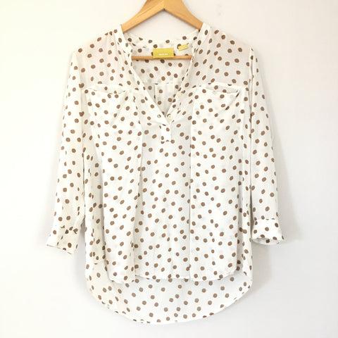 Maeve 1/4 Button Up Polka Dot Pocket Top- Size XS