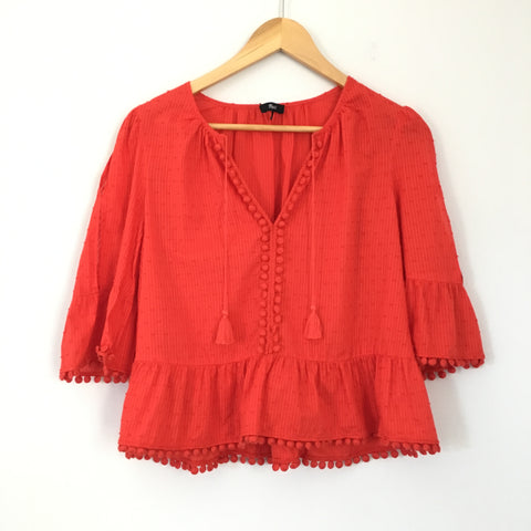 Madewell Embellished Hem Blouse with Tassels- Size S