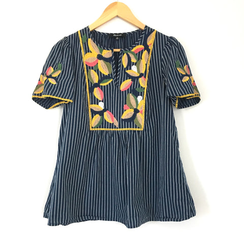 Madewell Striped Embroidered Top- Size XS