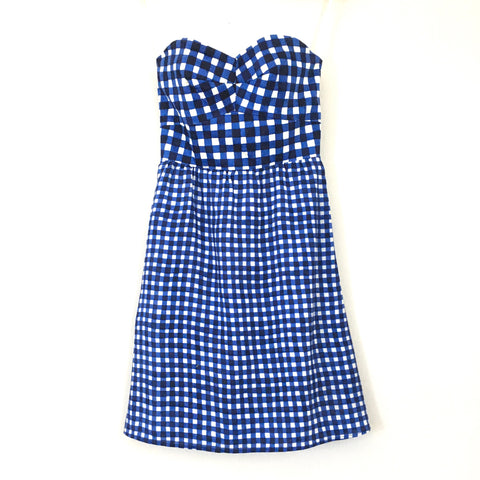 Hutch Anthropologie Blue Gingham Strapless Dress- Size 4