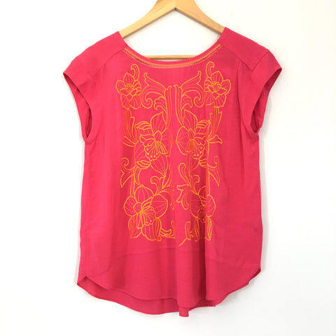 Maeve Pink Embroidered Top - Size 4