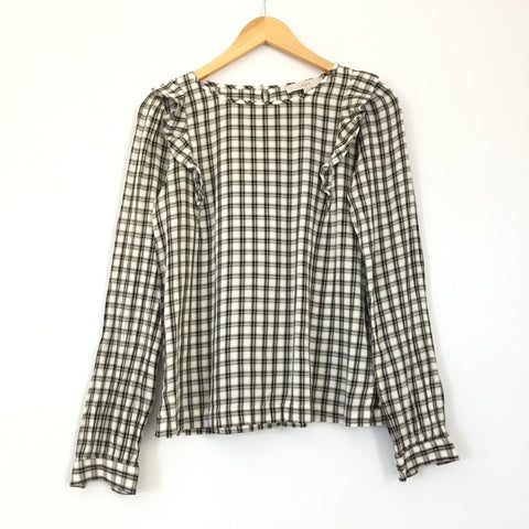 LOFT Tan and Black Plaid Long Sleeve Top With Shoulder Ruffles- Size XS
