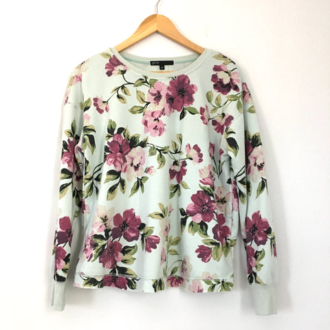Gibson Mint and Purple Flower Print Sweatshirt- Size XS