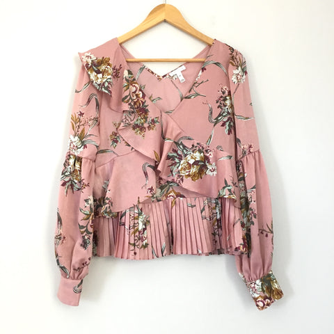 Leith Pink Satin Floral Ruffle Blouse- Size XS