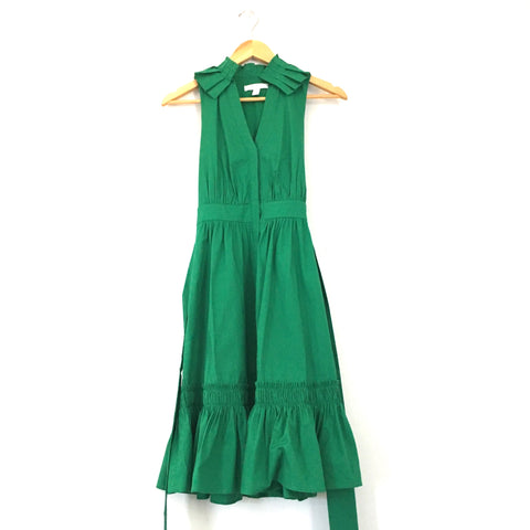 1901 Green Pleated Collar Shirtdress With Front Buttons and Waist Tie - Size 2