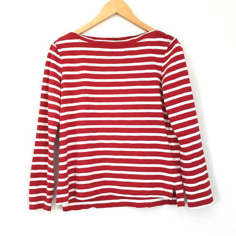 J Crew Red and White Striped Long Sleeve Boatneck Top- Size XS