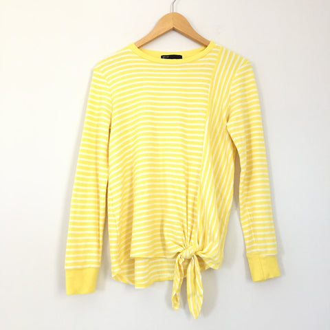 Gibson Yellow Striped Long Sleeve Top With Front Tie- Size XS