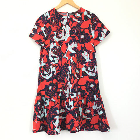 Halogen Red and Blue Flowered Dress - Size XS