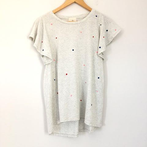 T.La by Anthropologie Light Grey T-shirt With Embroidered Polka Dots- Size S