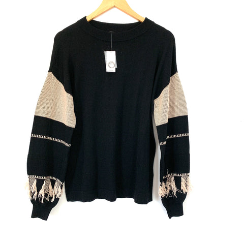Lord and Taylor Black Sweater with Tan Fringe Sleeve NWT- Size XS
