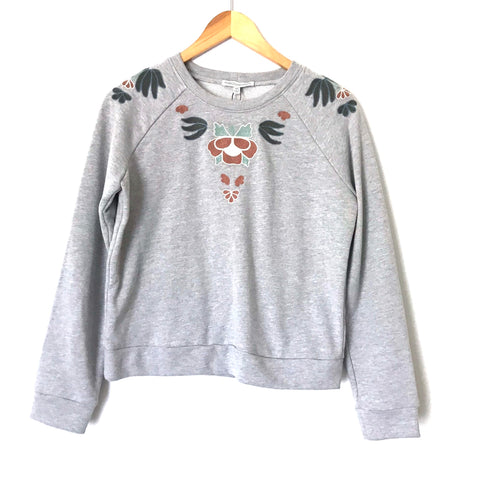 Rebecca Minkoff Grey Embroidered Sweatshirt NWT- Size XS