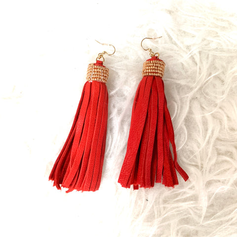 No Brand Red Leather Tassel Earrings