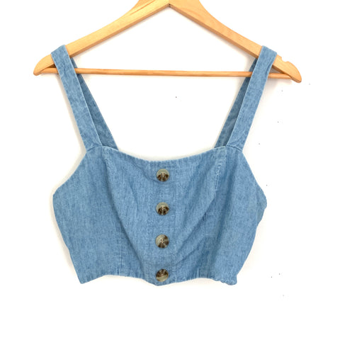 Show Me Your Mumu Blue Adeline Crop Top- Size S (with side zipper closure)