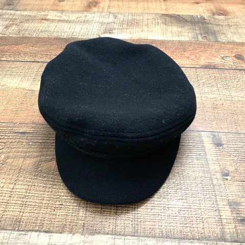 Asos Black Baker Boy Hat With Rope & Side Button