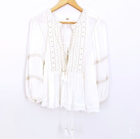 Free People White Embroidered Lace Up Blouse- Size XS