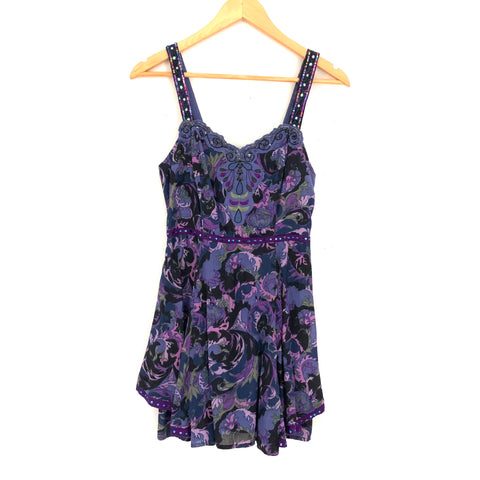 Free People Paisley Purples Dress with Sequins Straps- Size 0