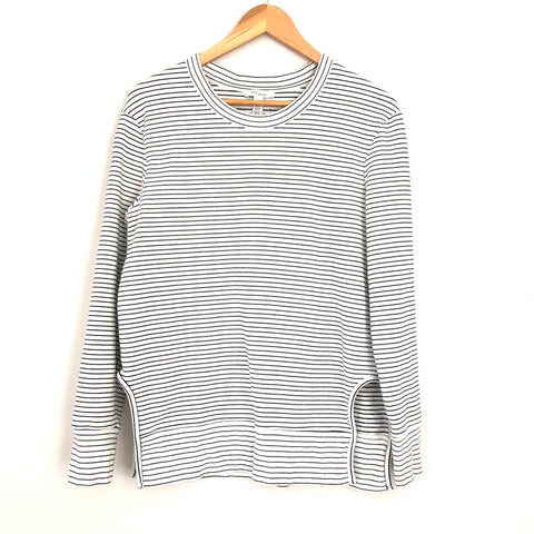 Daily Ritual Striped Terry Cotton and Modal Pullover with Side Cut Outs- Size M
