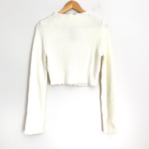 Vestique Ivory Fuzzy Mock Neck Cropped Sweater NWT- Size S/M